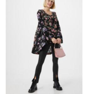 Free People Loretta black pink floral Shirt Dress